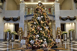 Professional office lobby ready for the holidays