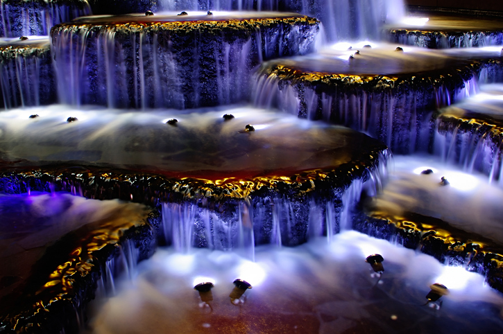 landscape design - waterfall underwater lighting